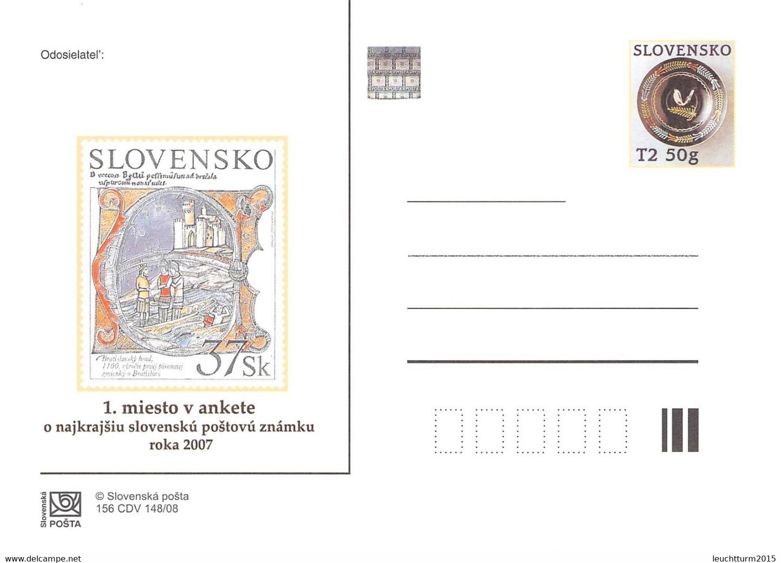 SLOVAKIA - STATIONARY POSTCARD 2008 CDV 156 Unc //Q96 - Postales