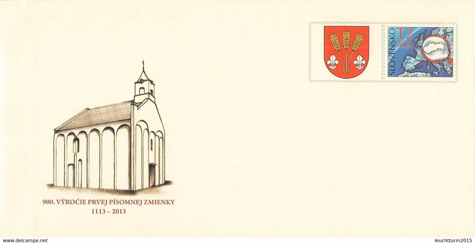 SLOVAKIA - STATIONARY ENVELOPE 2013 CHURCH Unc //Q121 - Postales