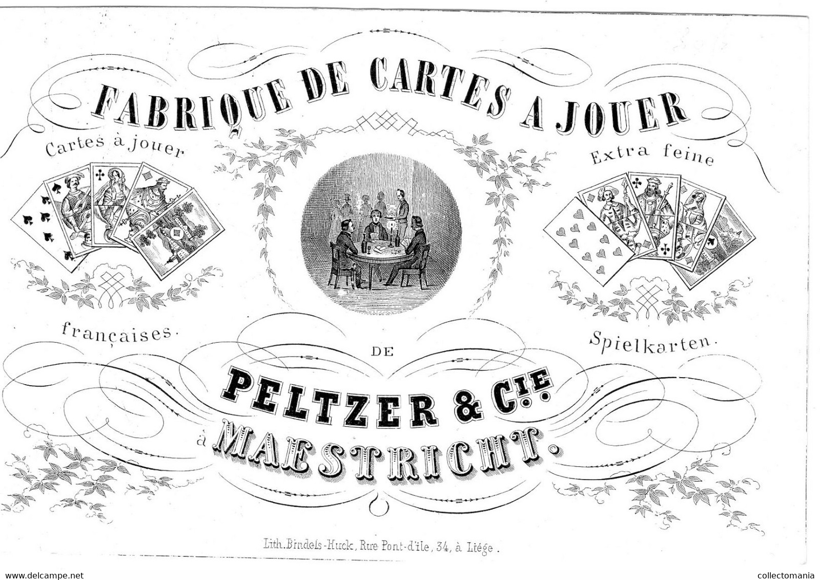Porseleinkaart FABRIEK Anno 1855 - Cartes à Jouer PELTZER & Cie à MAASTRICHT Litho Bindels-Huck 11,5x7,5cm - Other