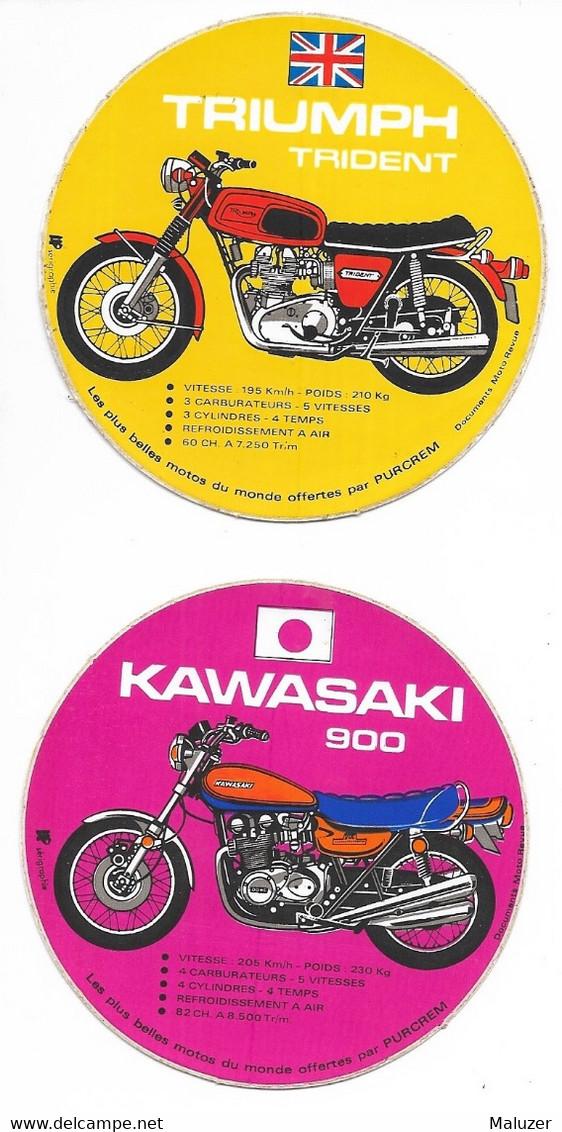 2 AUTOCOLLANTS  PURCREM - MOTO - LES PLUS BELLES MOTOS DU MONDE  - KAWASAKI 900 - TRIUMPH TRIDENT - Stickers