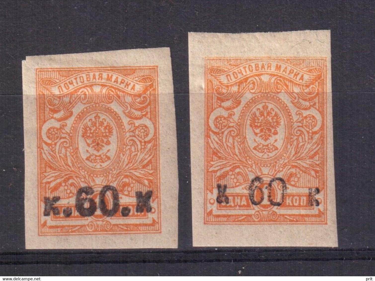 Armenia 1919, 60 Kop, 2 Different Types, Michel 1 IB & 1 IIB, MLH. - Armenië