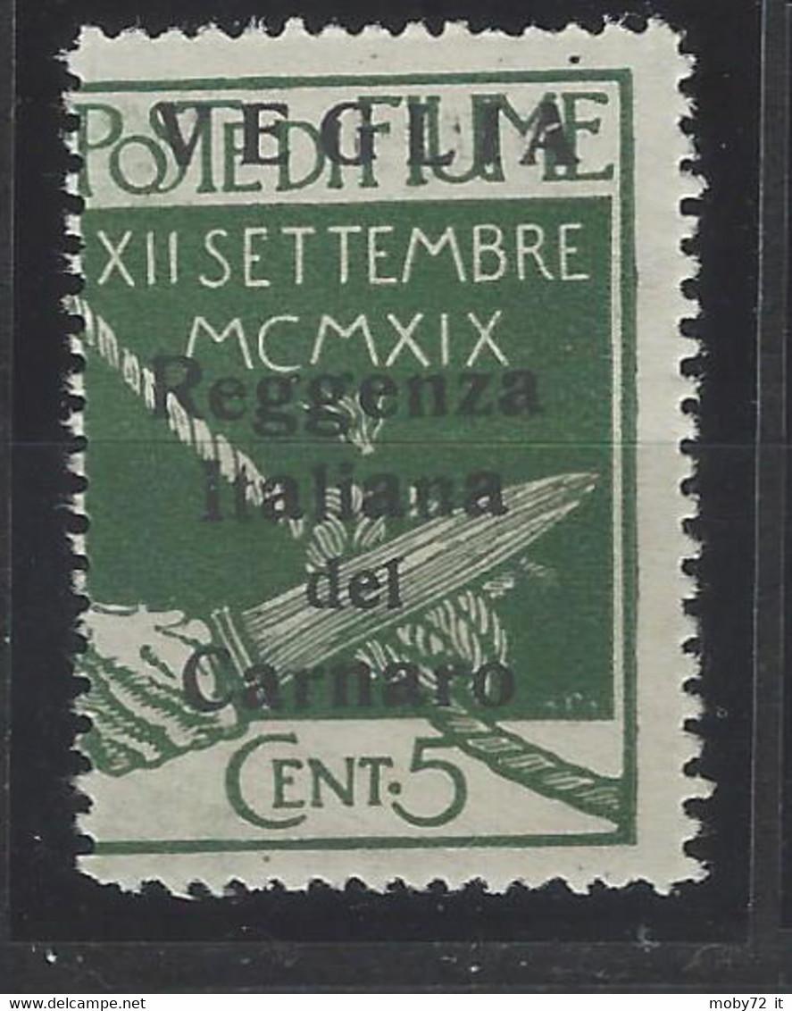 Italia - Veglia - 1920 - Nuovo/new MNH - Overprint - Sass N. 5 - Arbe & Veglia