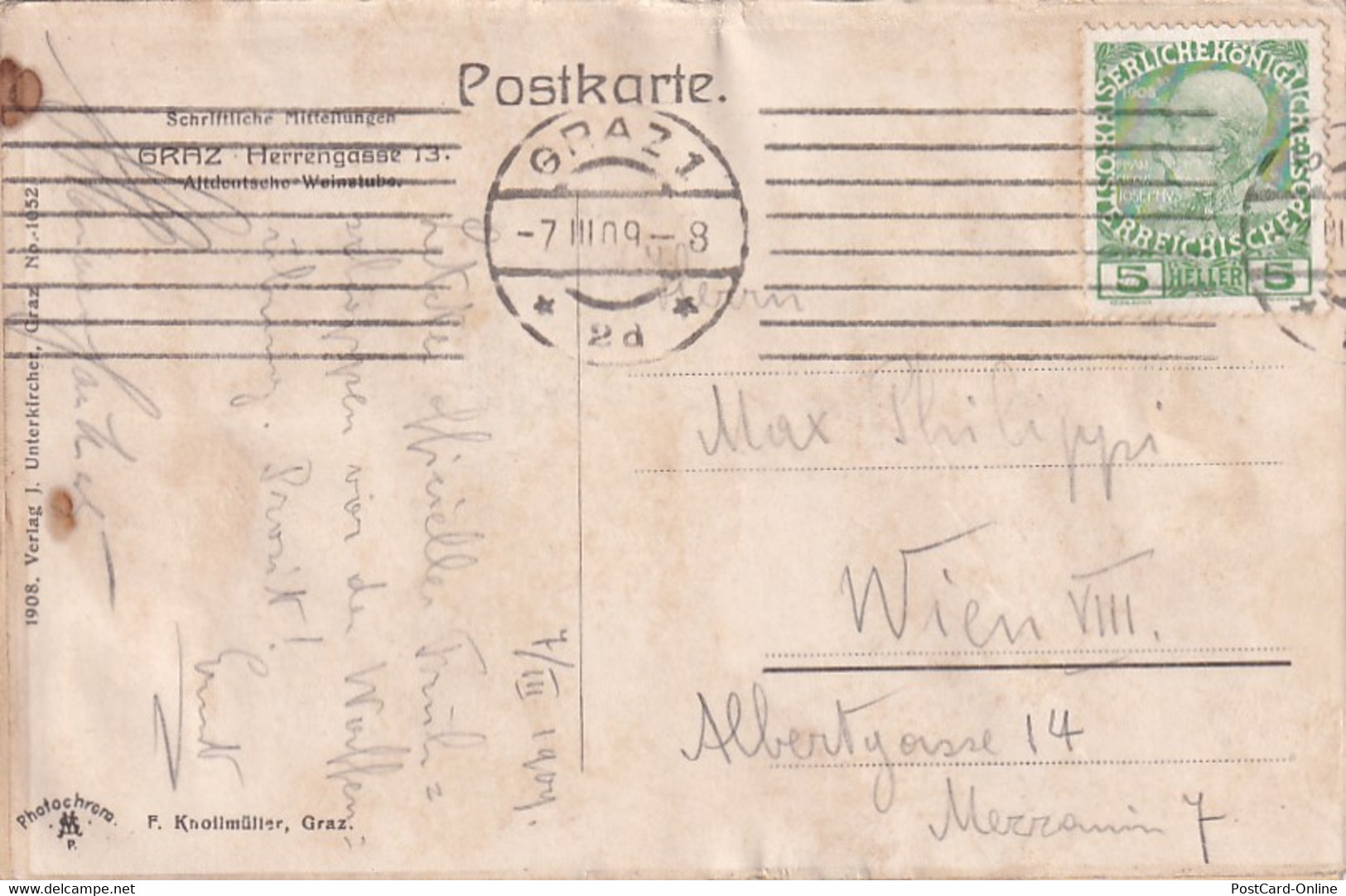 3619 - Österreich - Steiermark , Graz , Herrengasse 13 , Altdeutsche Weinstube - Gelaufen 1909 - Graz