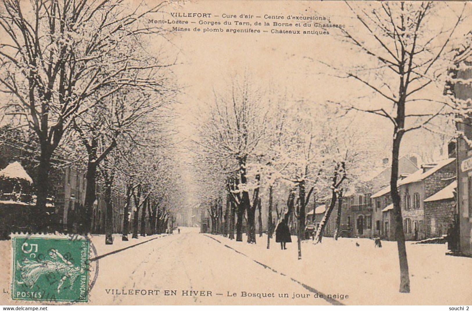 ZA 10-(48) VILLEFORT EN HIVER - LE BOSQUET UN JOUR DE NEIGE - 2 SCANS - Villefort