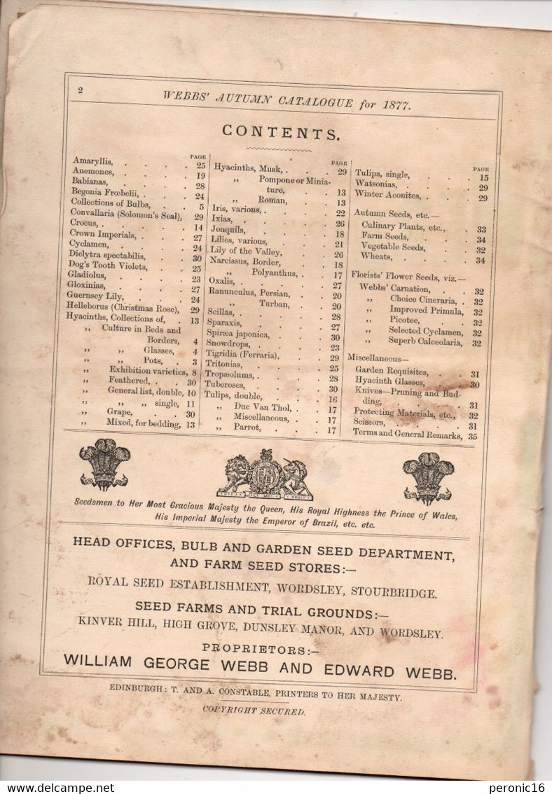 Catalogue : WEBBS' Catalogue Of Dutch Flower Roots & C - AUTUNM 1877 - B. Bloemplanten & Bloemen