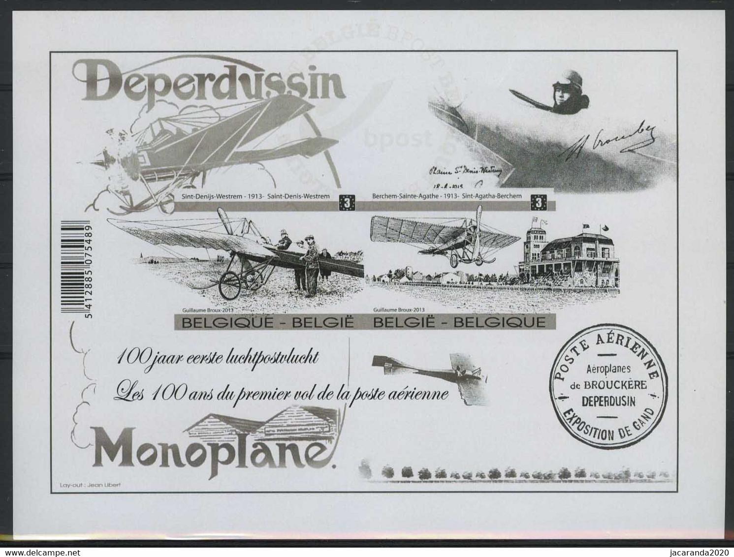 België GCE 2 - 2013 - 100 Jaar 1ste Luchtpostvlucht In België - Deperdussin - Monoplane - (BL207) - Zeldzaam - Rare - Zwarte/witte Blaadjes