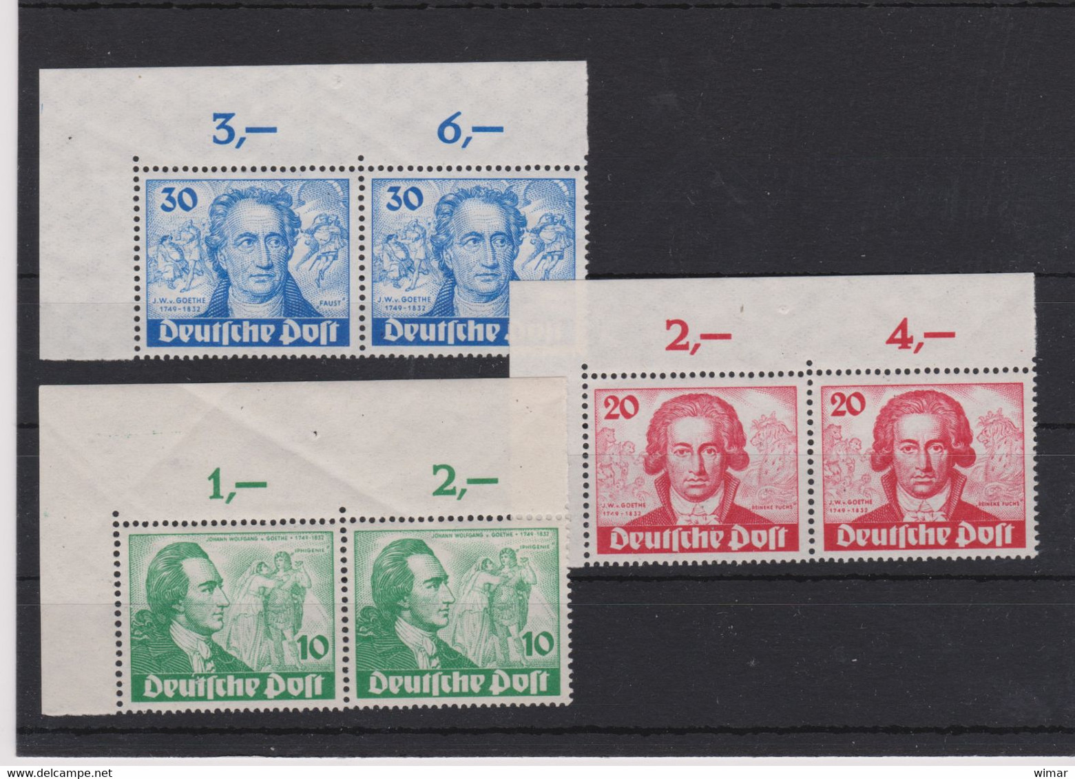 Berlin (West) 1949 200. Geburtstag Von J.W. Von Goethe Mi 61-63 ** Superbe Waagerechte Paare Als Obere Eckrandstücke - Unused Stamps