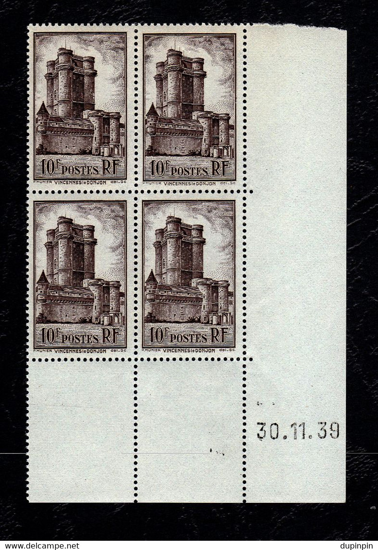 Coin Daté France YT N°393 Vincennes Le Donjon - Neuf - 1930-1939