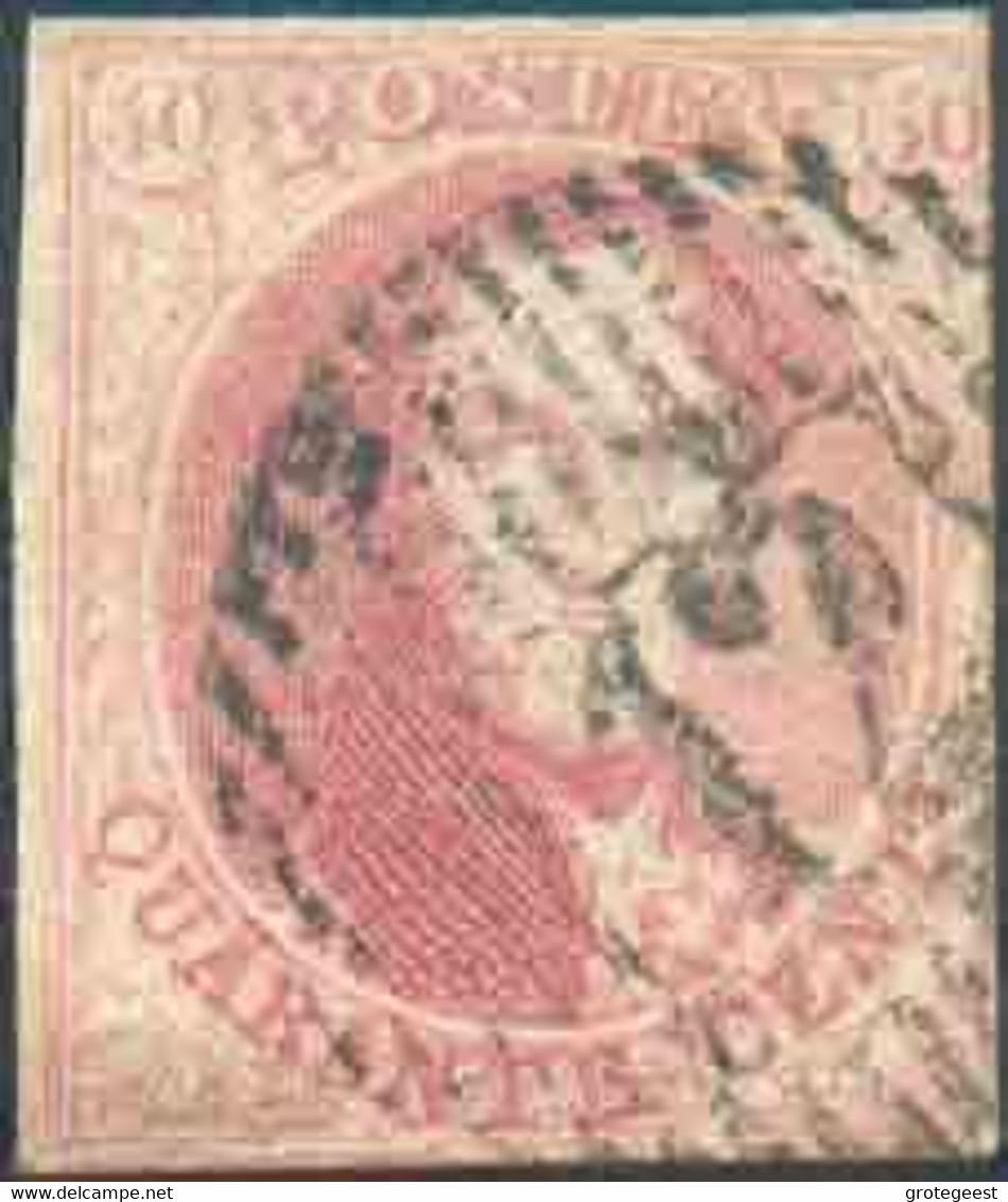 N°8 Médaillon 40 Centimes Carmin, Légèrement Touché à Droite Sinon Margé EtSplendide Frappe D.12 CRUYSHAUTEM. Rare Sur - 1851-1857 Medaillen (6/8)