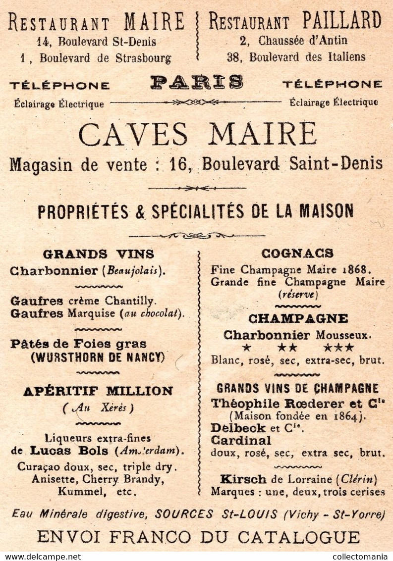 6 Chromo Litho Restaurant Maire Paris Cardinal Aÿ Caves Maire  Champagne Charbonnier Mousseux 1878 Pierrot Harlechino TB - Champagne & Sparkling Wine