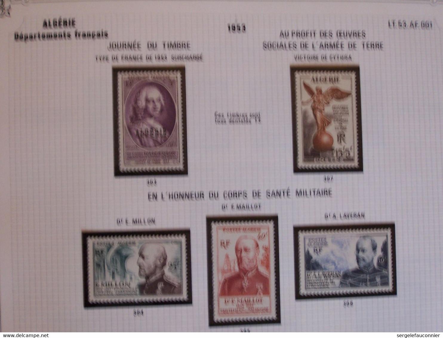 ALBUM ALGERIE Département FRANCAIS.Timbres-Poste De FRANCE Neufs Surchargés, Spécifiques Classement Chrono 1924-1958 - Collezioni & Lotti
