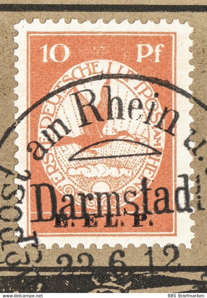 Deutsche Flugpost An Rhein Und Main Karte Mit SStpl. Und MiNr. V (E.E.L.P.) - Covers & Documents