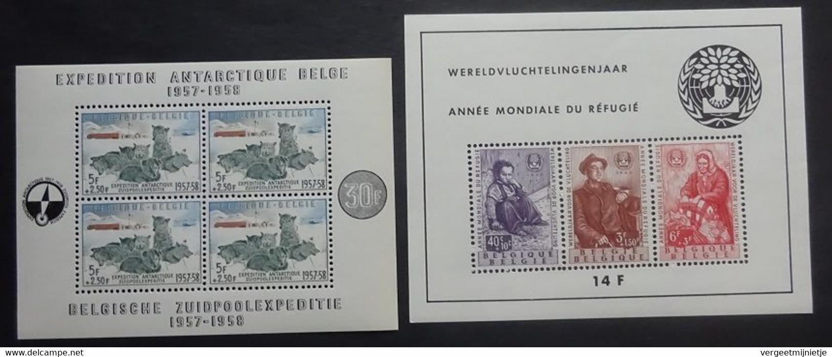 BELGIE  1957-60   Blok 31  'Zuidpoolexpeditie' +  Blok 32  'Vluchtelingen'   Postfris **   CW 265,00 - Blocks & Sheetlets 1962-....