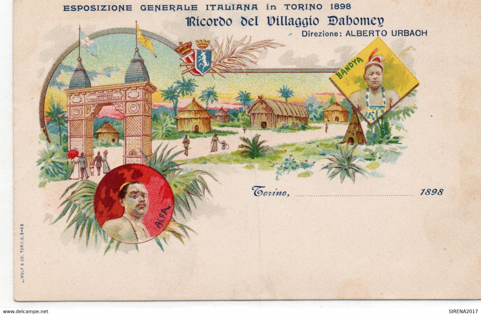 TORINO ESPOSIZIONE 1898 - RICORDO VILLAGGIO DABOMEY - TORINO - NON VIAGGIATA - Mostre, Esposizioni