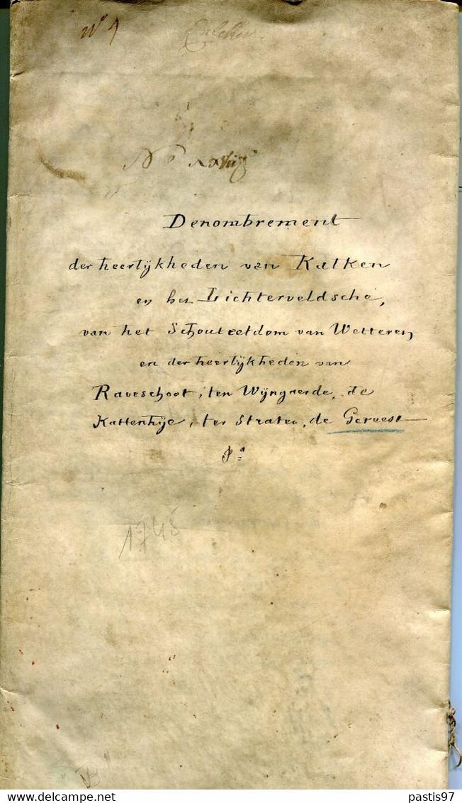 """Belgique Parchemin De 14 Pages Emis En 1745 """"Denombrement Van Kaelken,Lichtervelde Et Autres Villes - 1714-1794 (Austrian Netherlands)"""