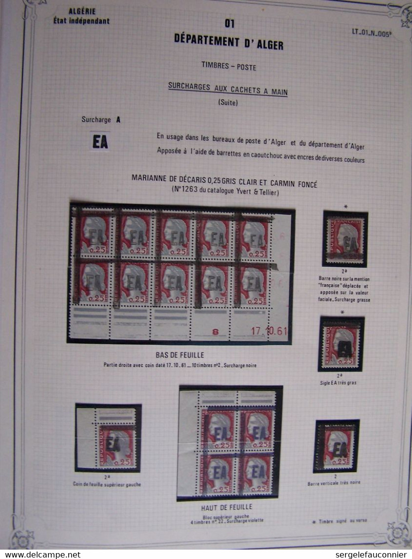 ALBUM ALGERIE Etat Indépendant Timbres De France Surchargés E A  Emissions Provisoires Juillet -Octobre 1962 - Collezioni (in Album)
