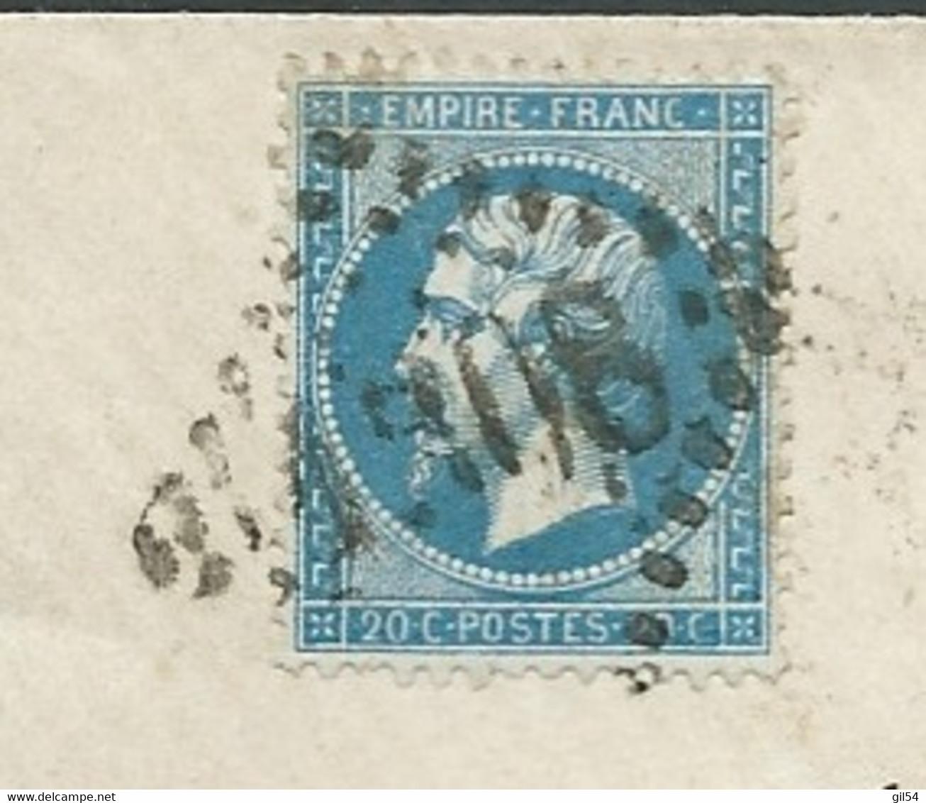 LSC Affra. Par Yvert N° 22 Obl G.C. N° 1308 ( 5/07/1866)   Dinan -aoa19804 - 1849-1876: Classic Period
