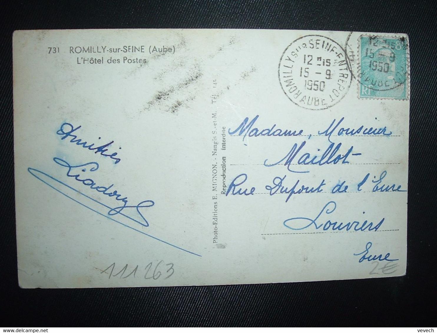 CP HOTEL DES POSTES TP M. DE GANDON 8F OBL.15-9 1950 ROMILLY SUR SEINE ENTREPOT AUBE (10) - Poste Ferroviaire