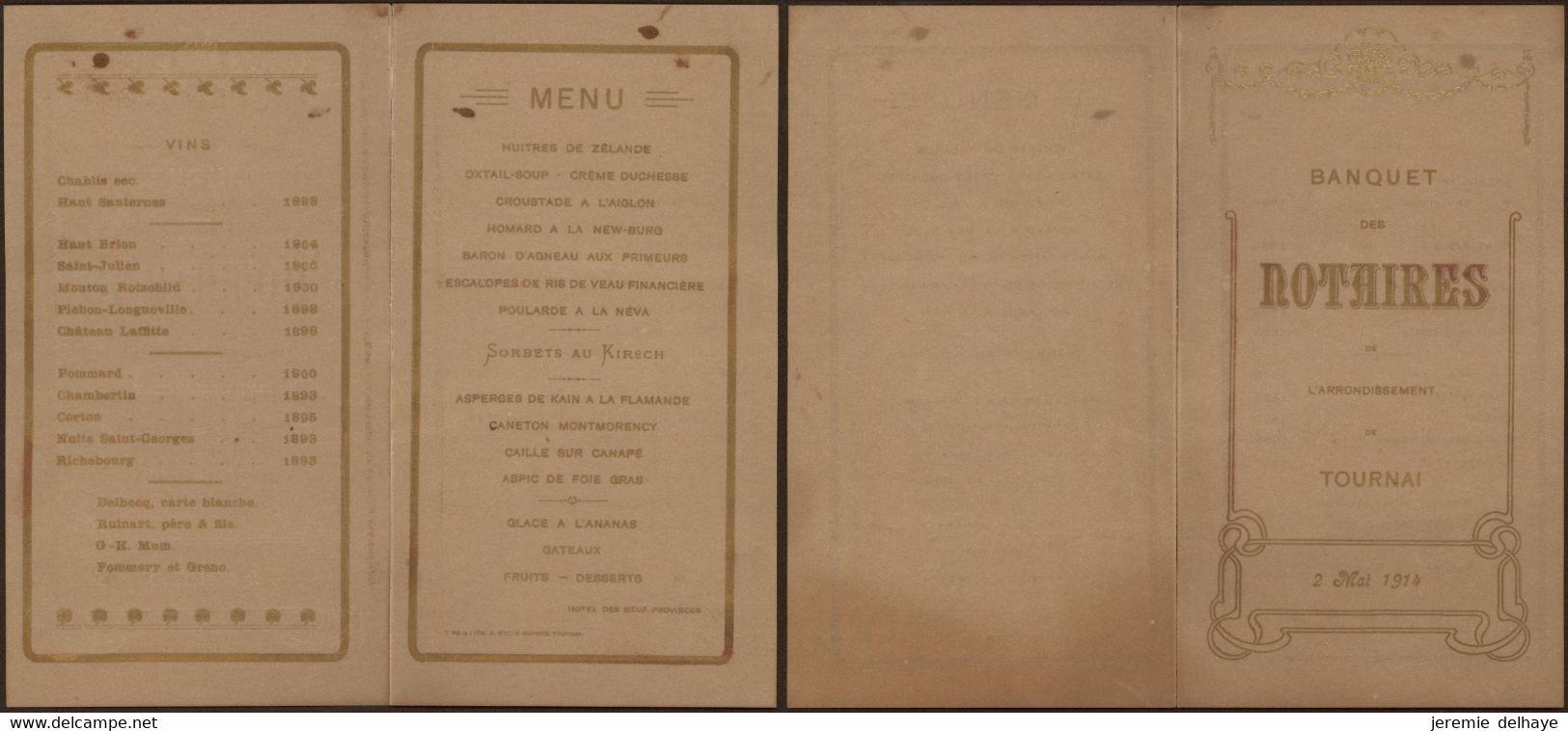 Belgique - Menu : Banquet Des Notaires De L'arrondissement De Tournai (2 Mai 1914) - Menus