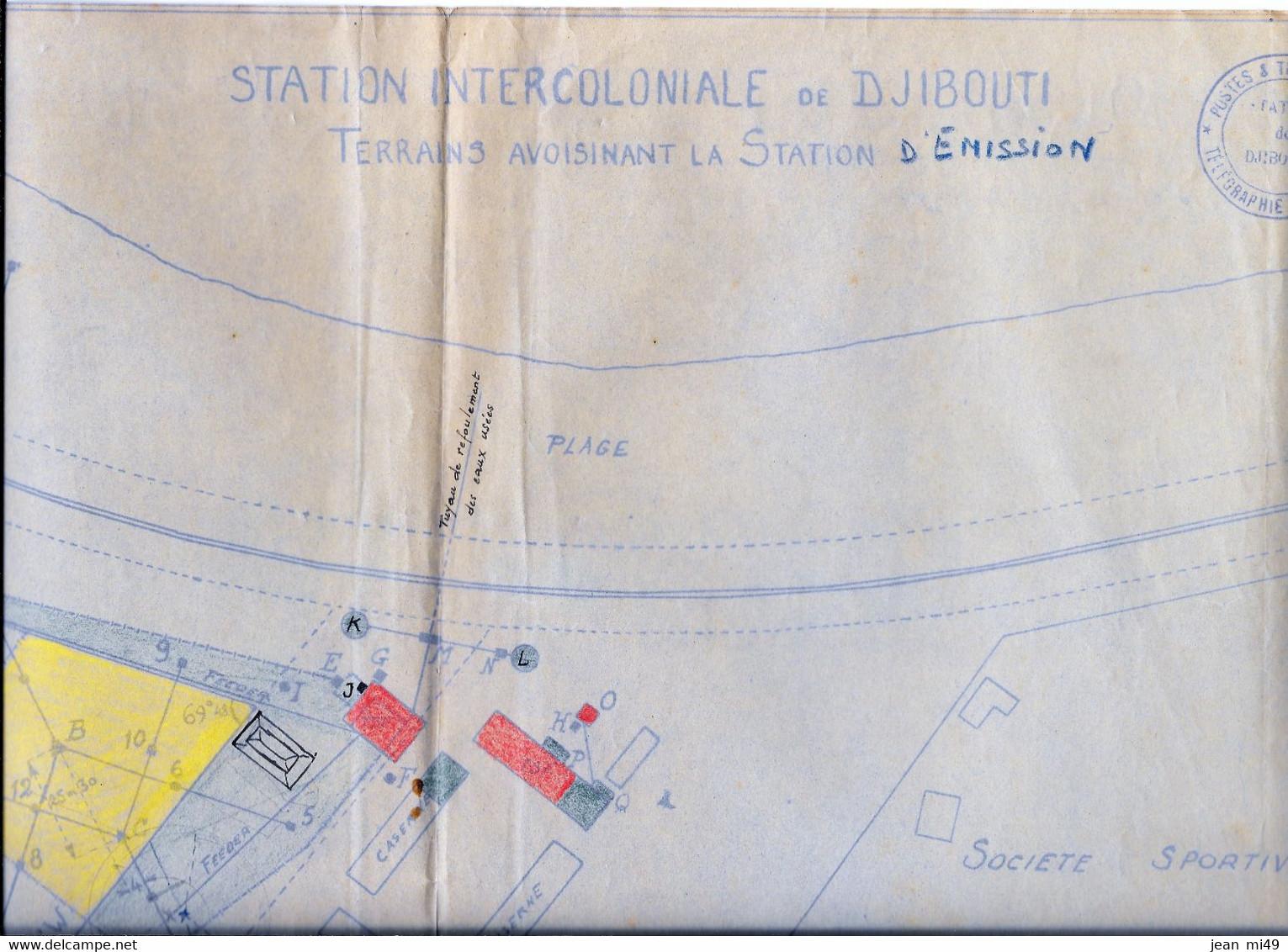 PLAN - STATION INTERCOLONIALE DE DJIBOUTI - Postes Et Télégraphes - Télégraphie Sans Fil -  7/12/1936 - World