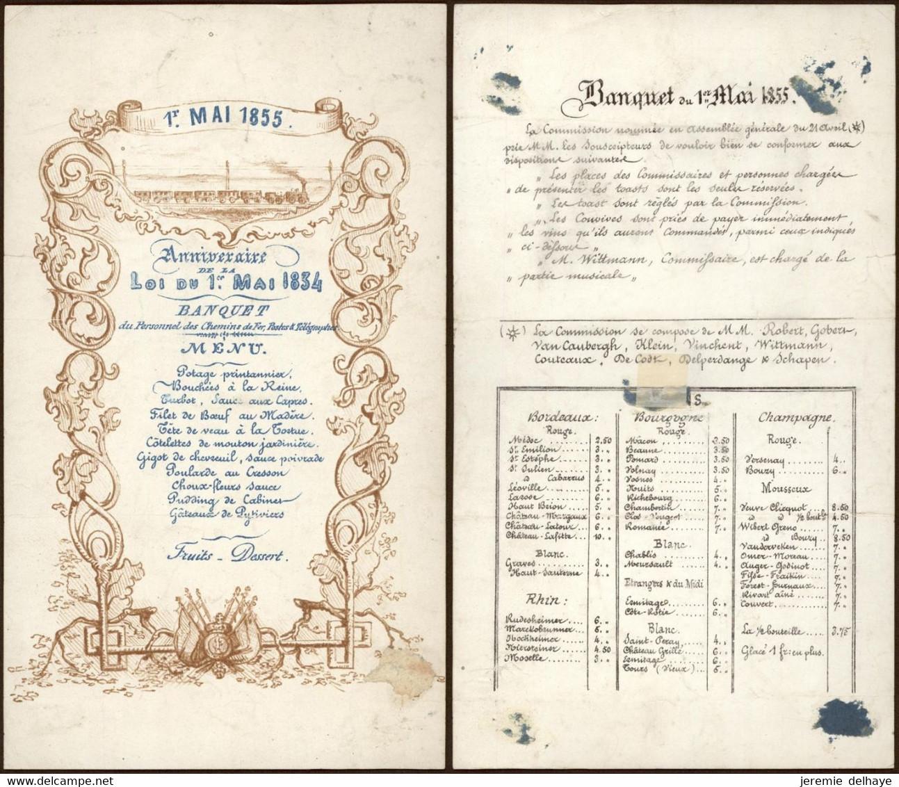 Menu En Porcelaine Fine (1er Mai 1855) Banquet Du Personnel Des Chemins De Fer, Postes Et Télégraphes - Menus