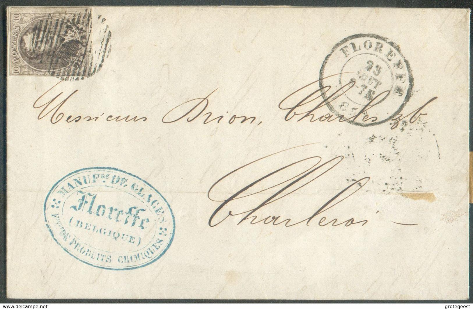 N°10A - Médaillon 10 Cent. Brun, Obl. P.163 Sur Lettre De FLOREFFEle 23 Août 1859 Vers Charleroi. -TB- 16988 - 1858-1862 Medaillen (9/12)