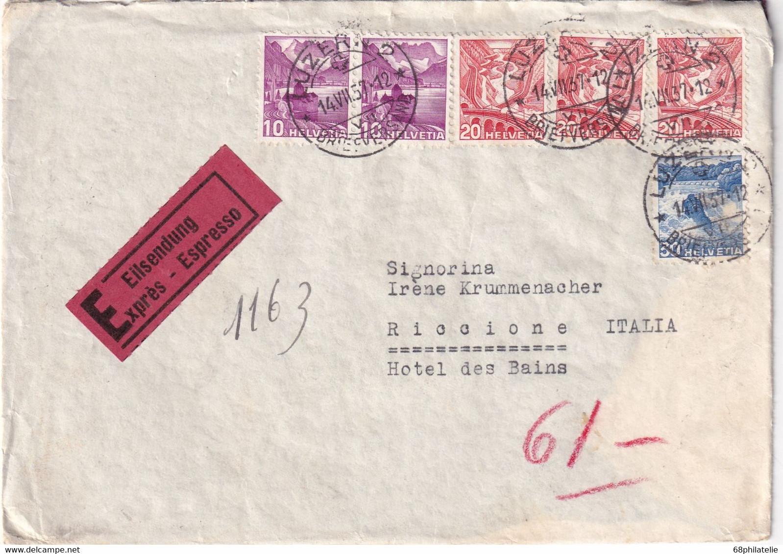 SUISSE 1937 LETTRE EXPRES DE LUZERN - Covers & Documents