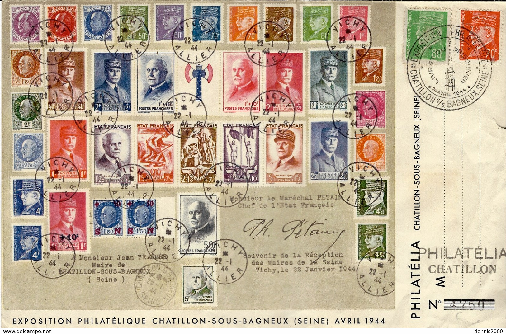 1944- Enveloppe  Exposition Philatélique De Châtillon-sous-Bagneux  Avril 44 - - 1921-1960: Modern Period
