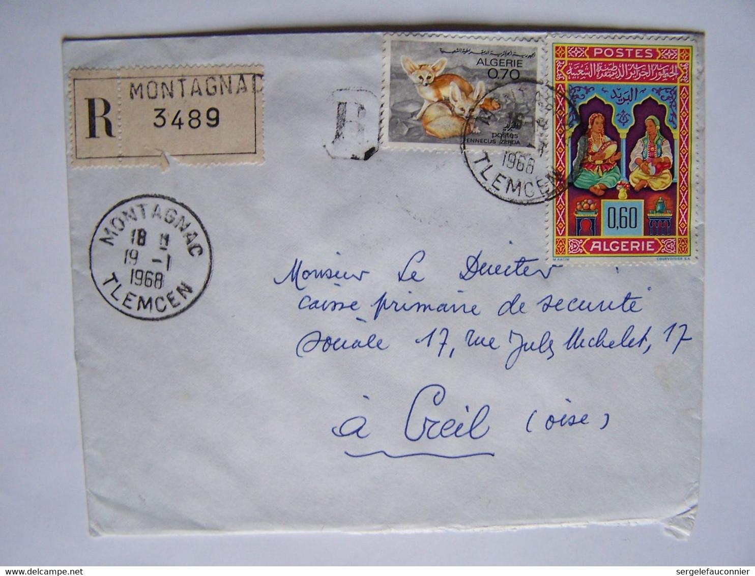 ALGERIE 19-1-1968 TLEMCEN Vers OISE Timbres Sur Enveloppe - Algeria (1962-...)