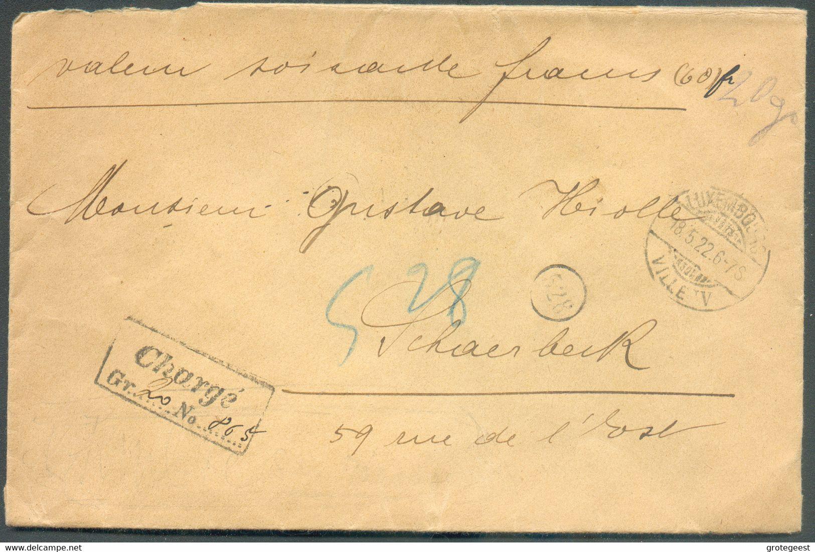 10c. Et 1Fr. GD Charlotte Obl. Dc LUXEMBOURG-VILLE Au Verso D'une Lettre CHARGE (valeur 60 Frs) (poids 20grs.) Du 18.5.1 - 1921-27 Charlotte De Face