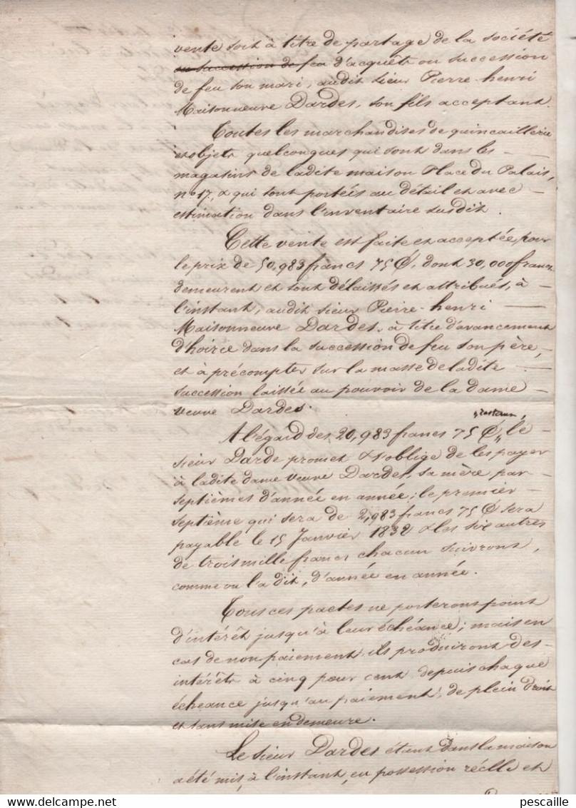 33 GIRONDE BORDEAUX PLACE DU PALAIS - ACTE CONCERNANT PARTAGE DE BIENS DE QUINCAILLERIE ? DARDES MAISONNEUVE / PREIGNAC - Manuscripts