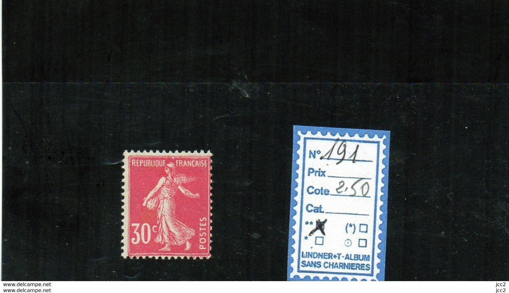 FRANCE LUXE ** - N° 191 - 1906-38 Säerin, Untergrund Glatt