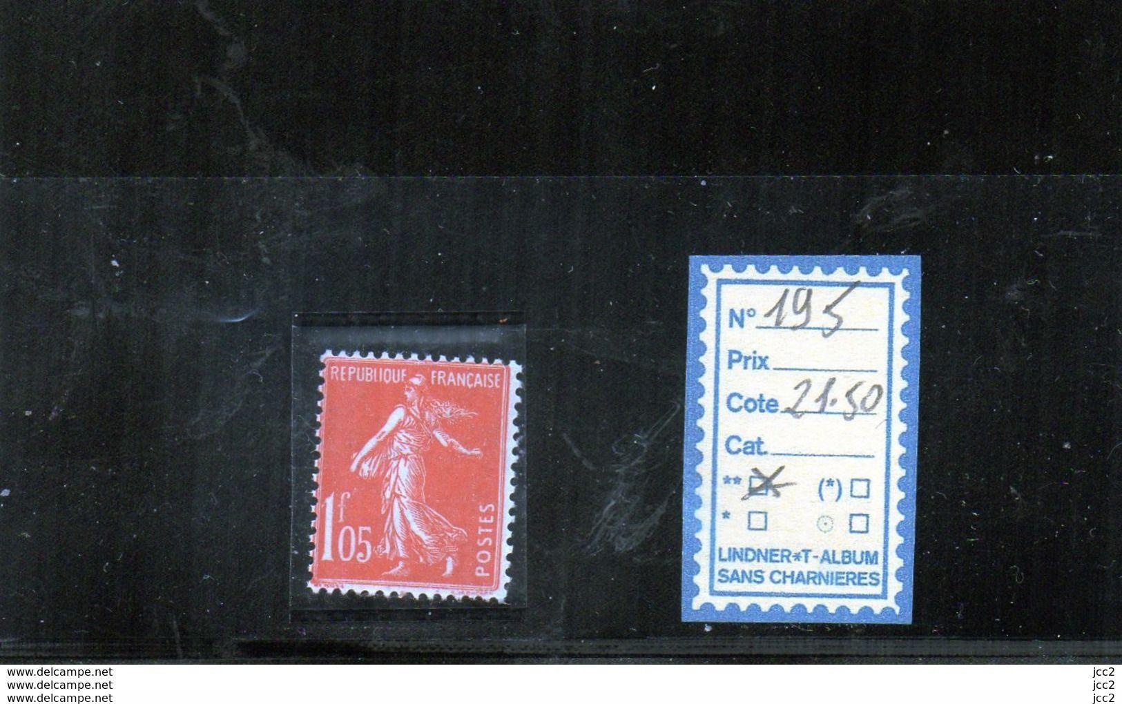 FRANCE LUXE ** - N° 195 - 1906-38 Säerin, Untergrund Glatt