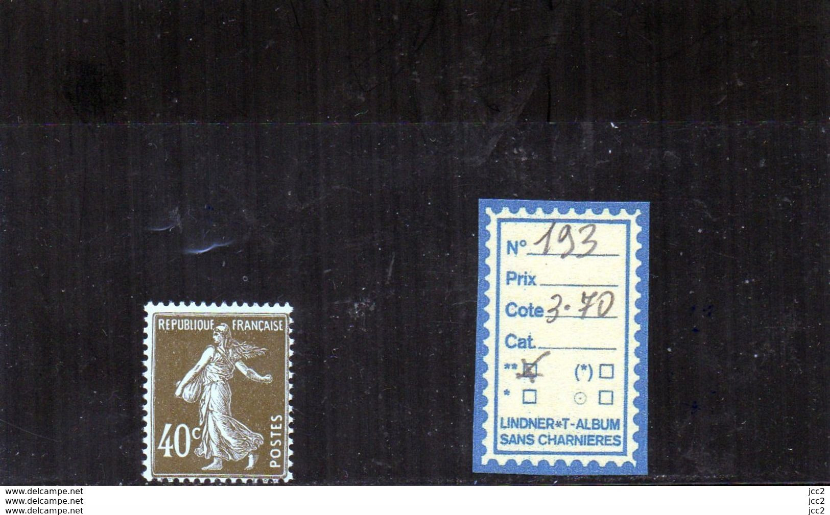 FRANCE LUXE ** - N° 193 - 1906-38 Säerin, Untergrund Glatt