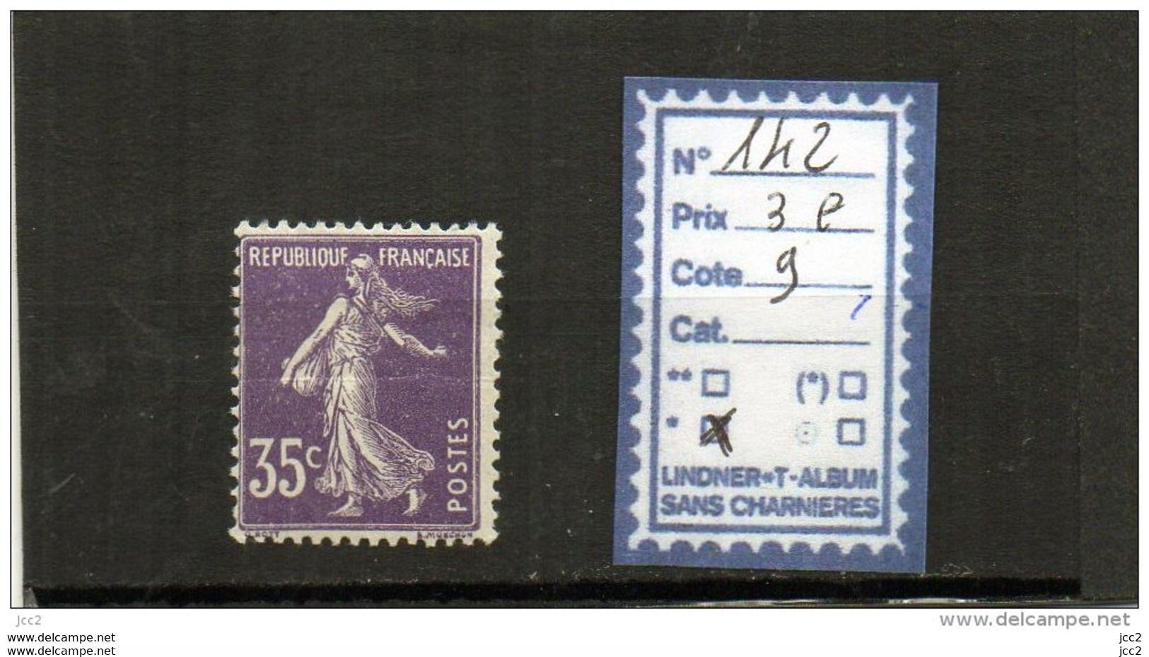 FRANCE A CHARNIERE * 142 - 1906-38 Säerin, Untergrund Glatt