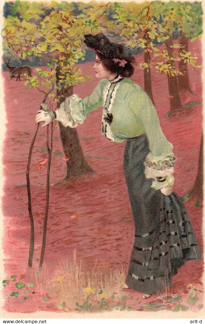 DC4766 - Schöne Motivkarte Junge Frau Dame Im Wald Künstlerkarte - Mujeres