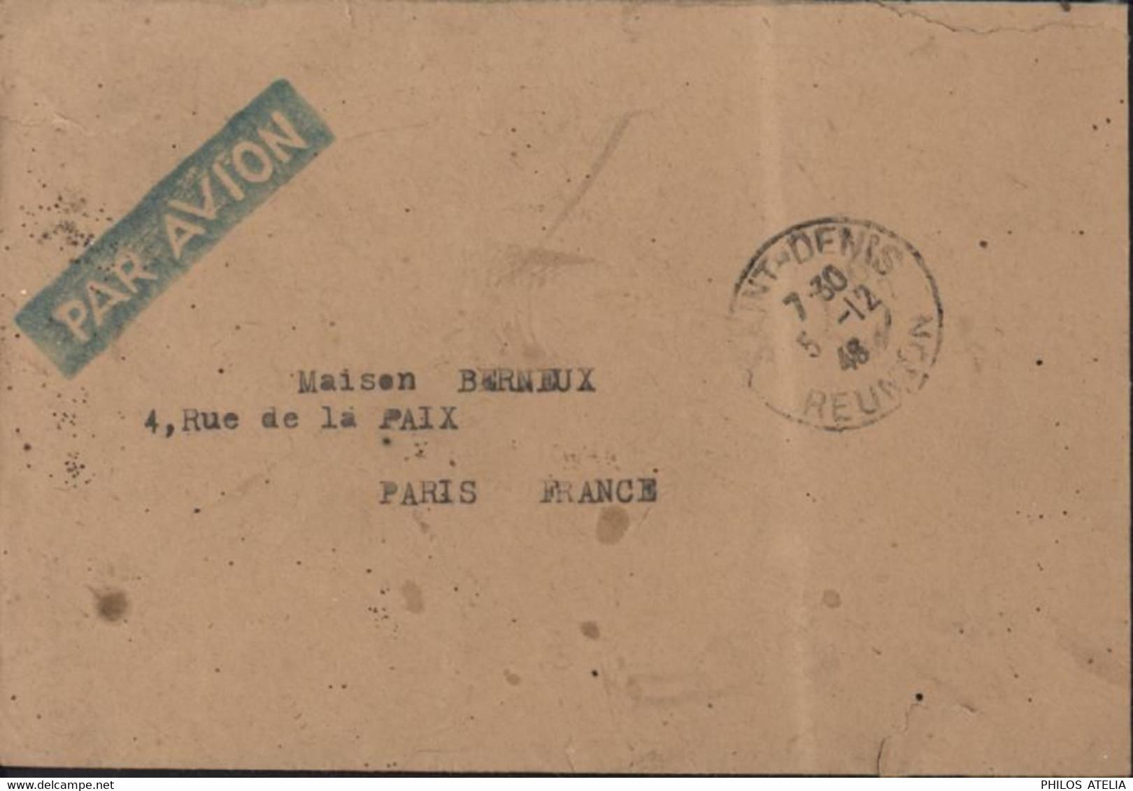 CAD St Denis Réunion 5 12 46 YT France Libre Réunion N°243 + 245 Par Avion - Covers & Documents