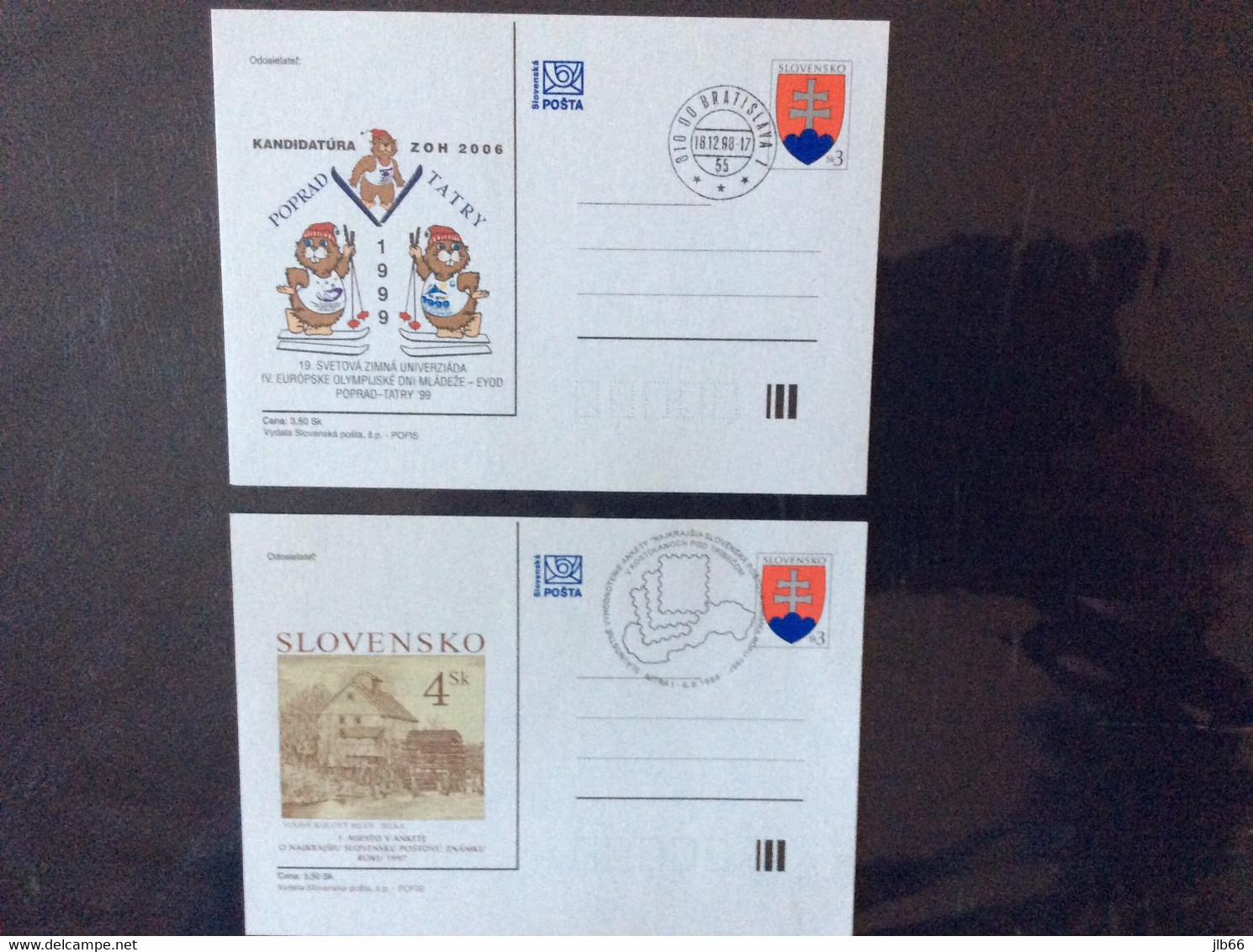2 EPC Oblitérés 1998 CDV 27 CDV 31 Plus Beau Timbre De 1997 Et Olympiade Des Jeunes à Poprad Tatras - Postales