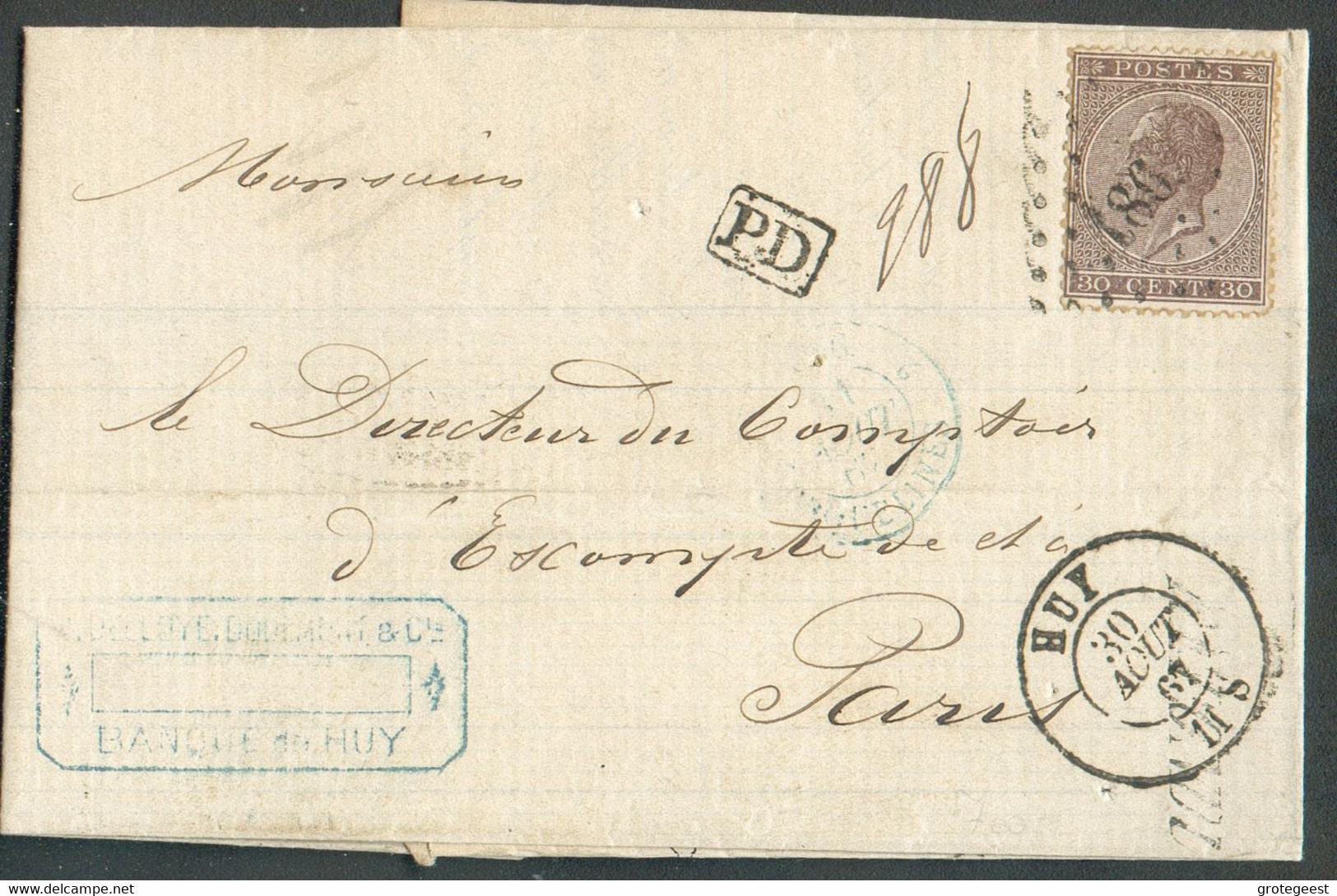 N°19 - LEOPOLD Ier 30 Centimes Brun, Obl. LP.186 Sur Lettre De HUYle 30 Août 1867 Vers Paris. TB - 17114 - 1865-1866 Linksprofil