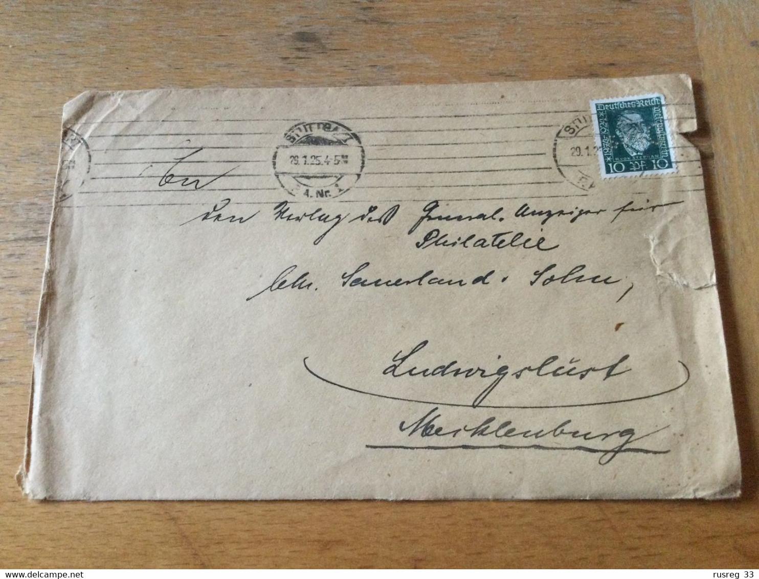 K15 Deutsches Reich 1925 Brief Von Stuttgart PERFIN! - Cartas