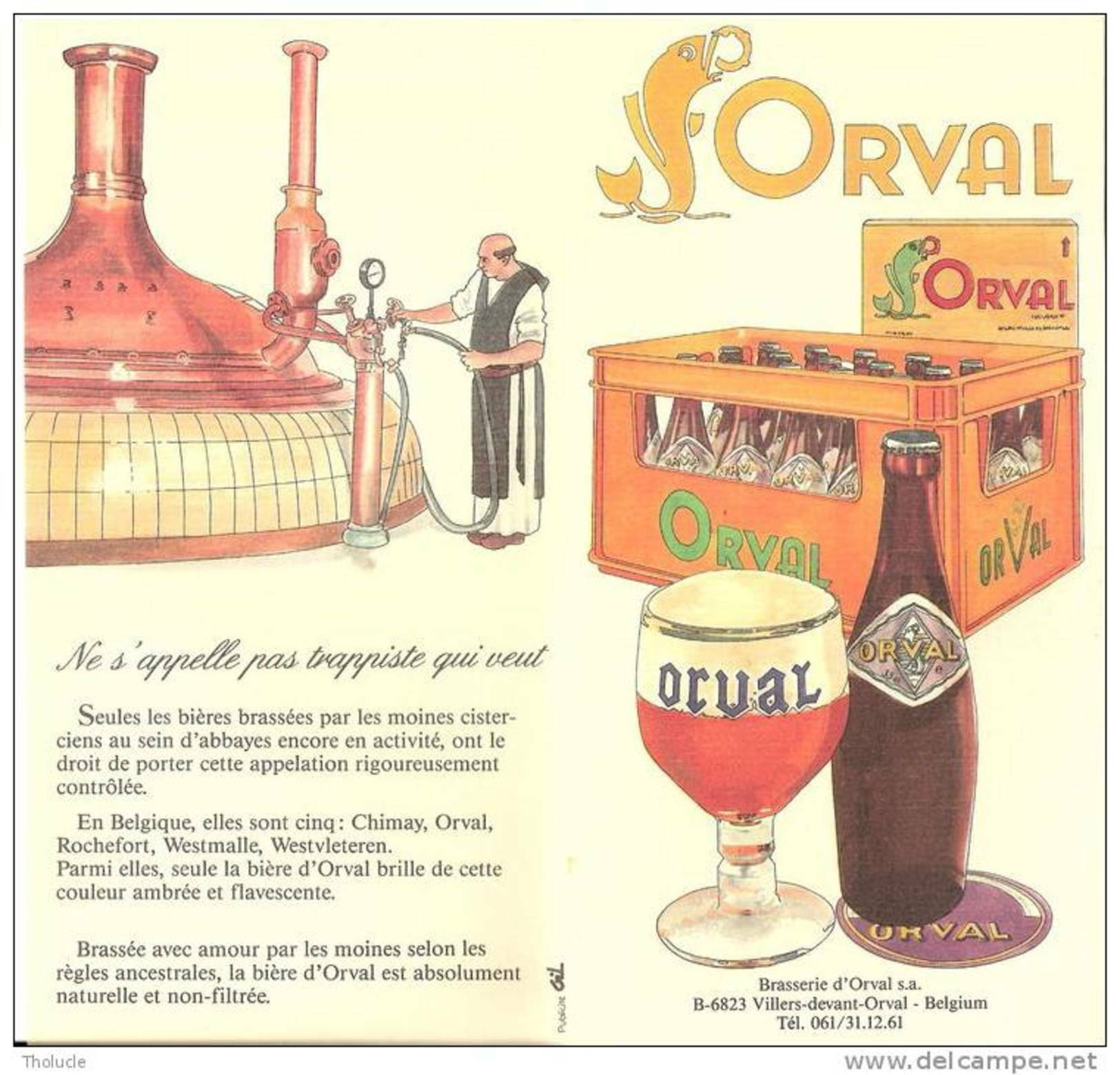 Orval-Feuillet Publicitaire (Abbaye-bière-Trappiste-historique)-Publicité De +/-1970-Editée Par La Brasserie D'Orval - Ohne Zuordnung