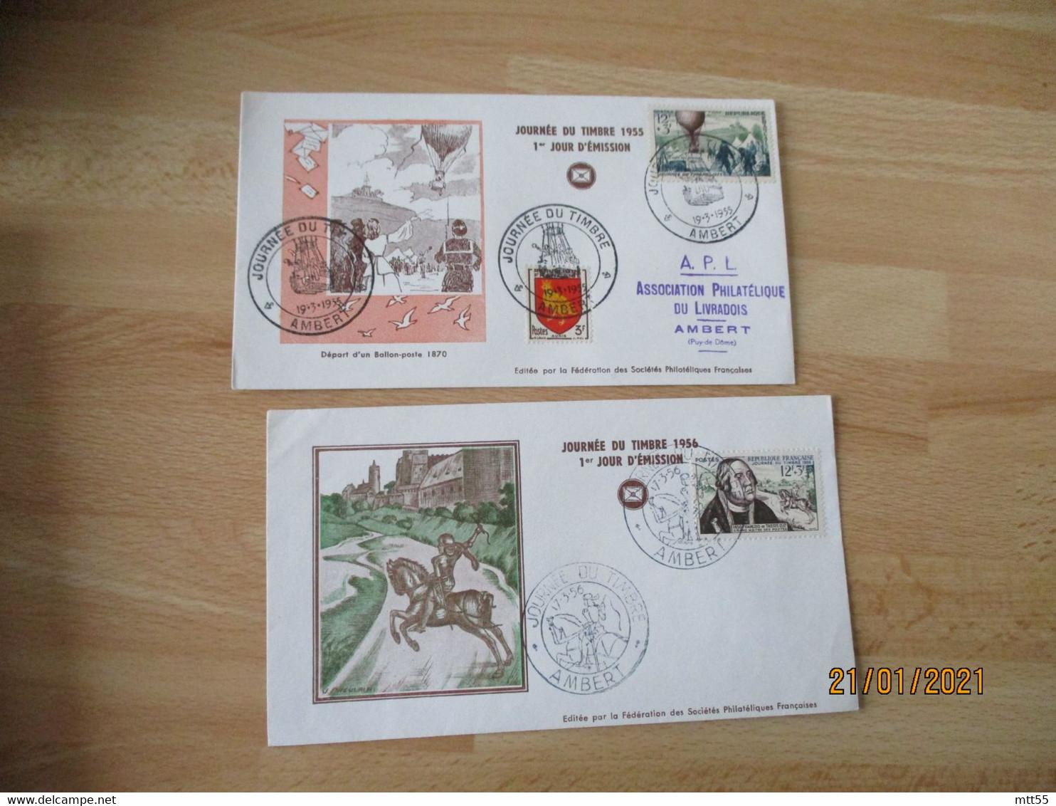 Fdc  1953.54.55.56.57.58  Journee Du Timbre Enveloppe 1 Er Jour - 1950-1959