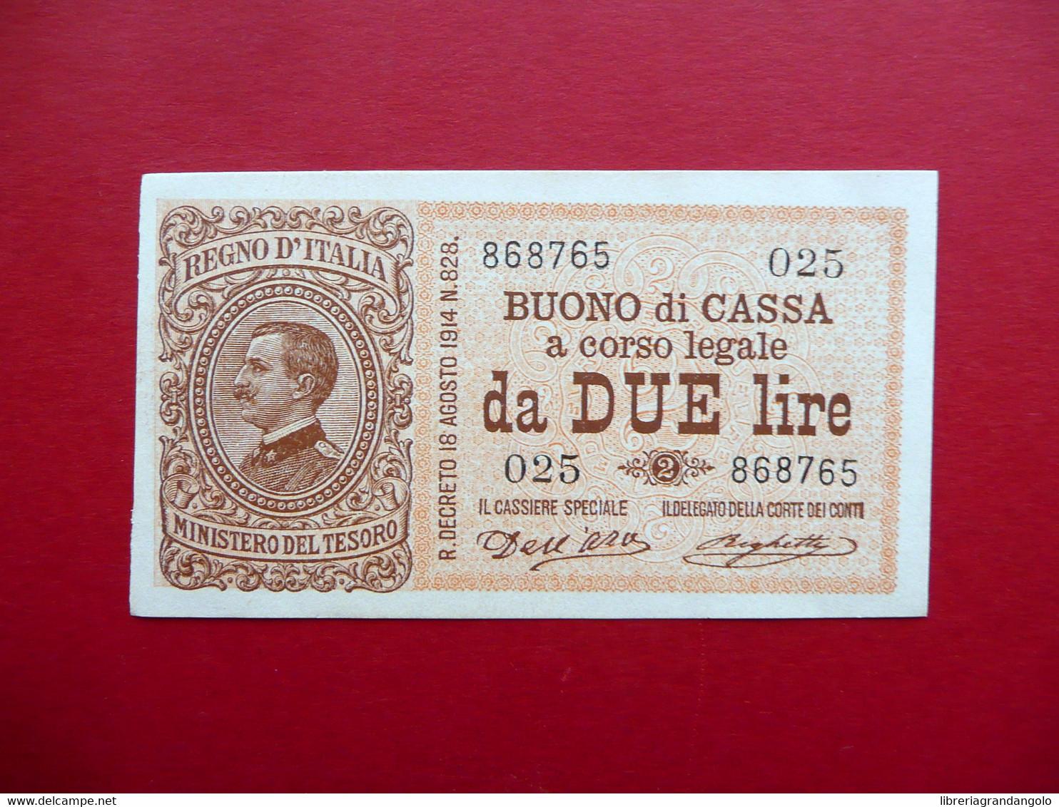 Buono Di Cassa A Corso Legale Lire Due N. 868765 Regno D'Italia Fior Di Stampa - Non Classificati