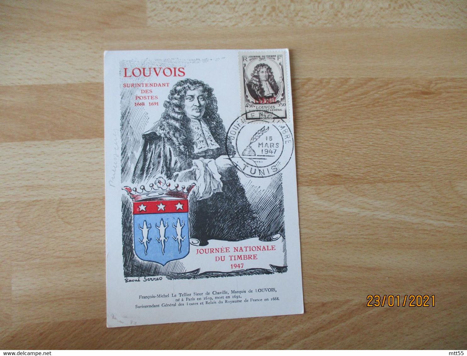 1947 Tunis Journee Du Timbre  Louvois Surcharge Tunisie  Cm Carte Maximum - Briefe U. Dokumente