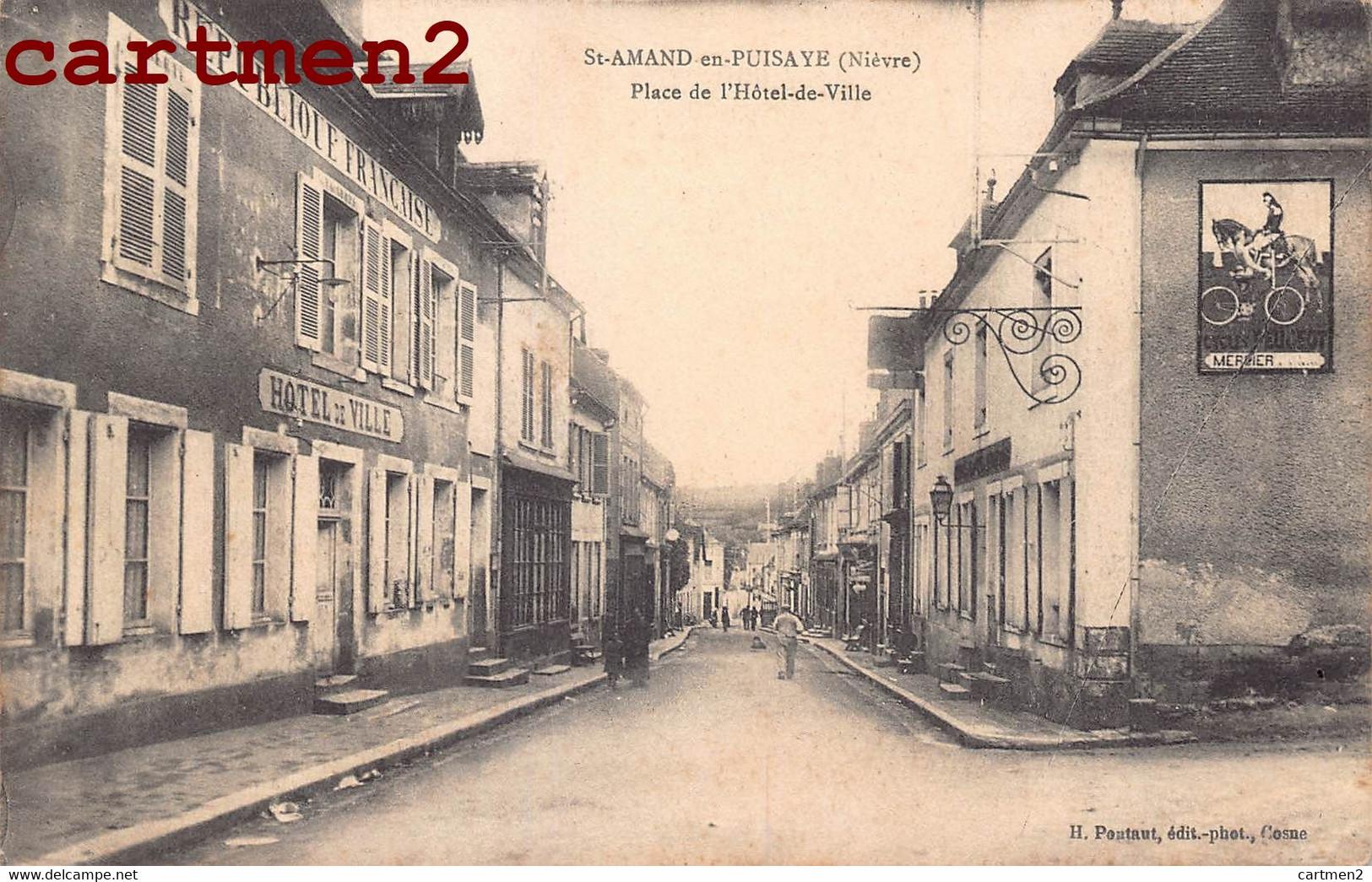 SAINT-AMAND-EN-PUISAYE PLACE DE L'HOTEL-DE-VILLE PUBLICITE AFFICHE MERCIER 58 NIEVRE - Saint-Amand-en-Puisaye