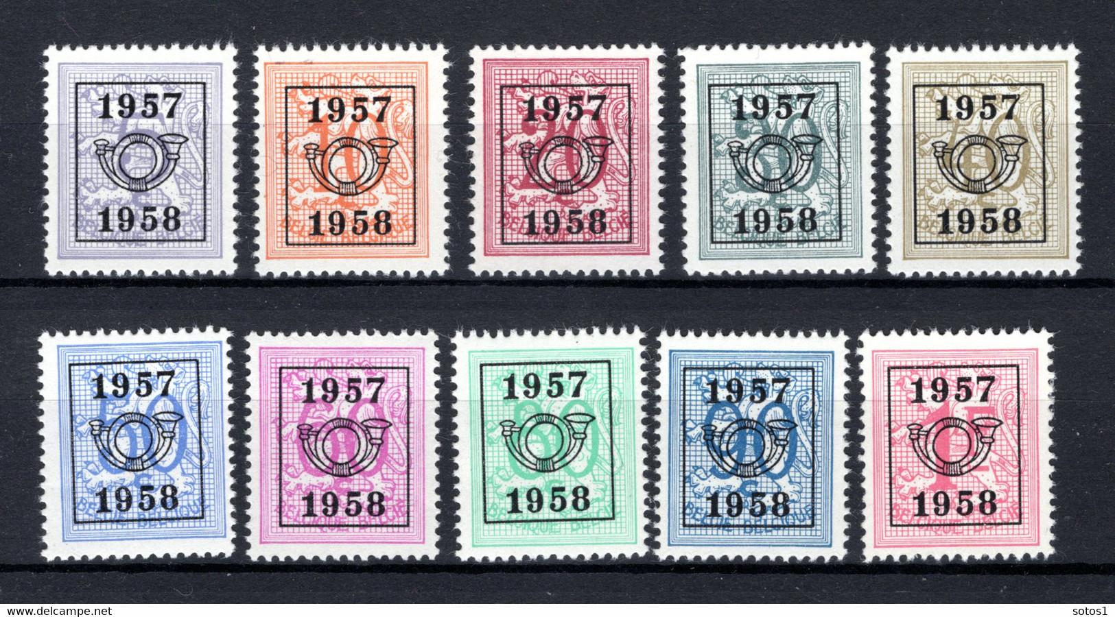 PRE666/675 MNH** 1957 - Cijfer Op Heraldieke Leeuw Type E - REEKS 50 - Sobreimpresos 1951-80 (Chifras Sobre El Leon)