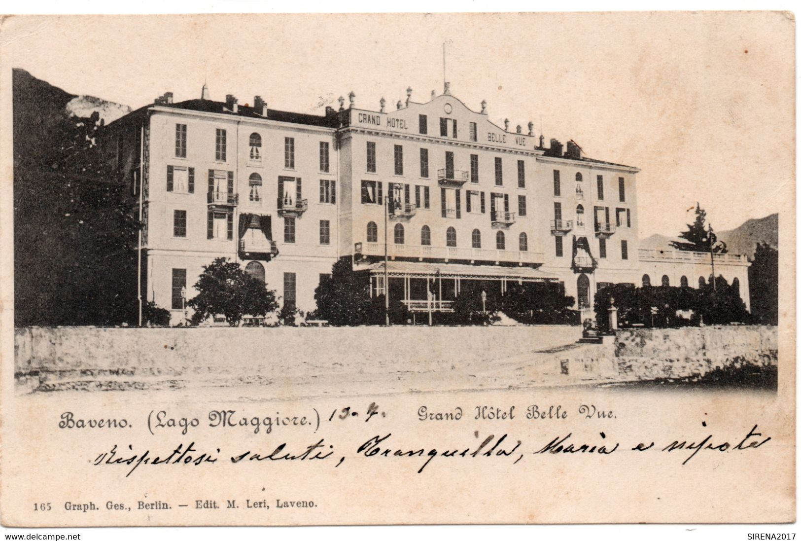 BAVENO - GRAND HOTEL BELLE VUE - VERBANIA - VIAGGIATA - Verbania