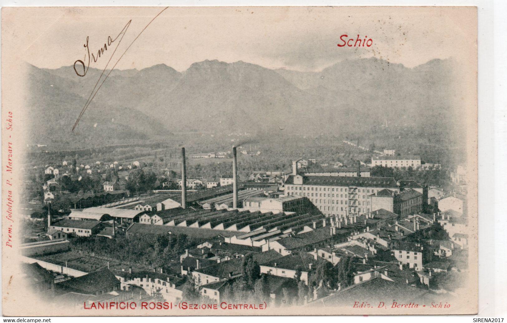 SCHIO - LANIFICIO ROSSI SEZIONE CENTRALE - VICENZA - VIAGGIATA - Vicenza