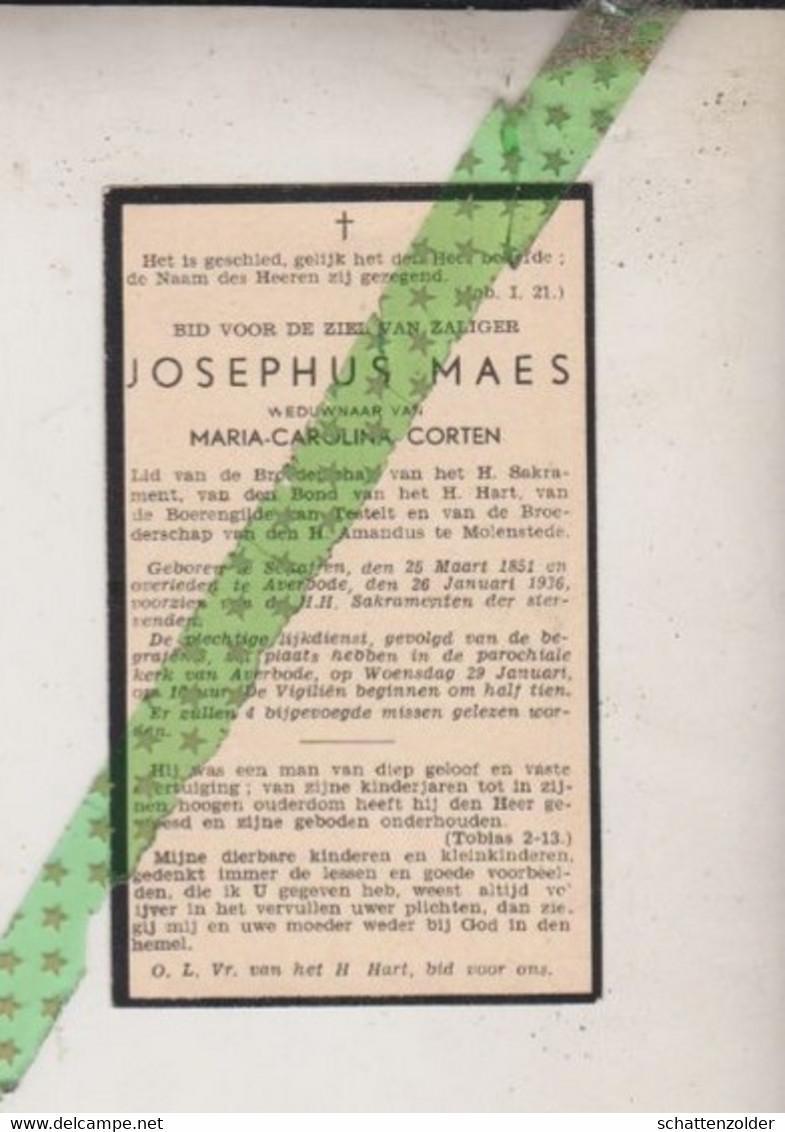Josephus Maes-Corten, Schaffen 1851, Averbode 1936 - Todesanzeige