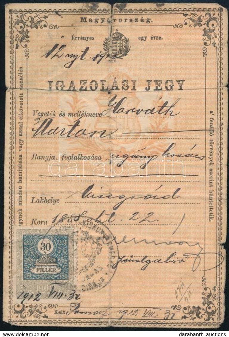 1912 Igazolási Jegy Cigány Kovács Részére - Unclassified